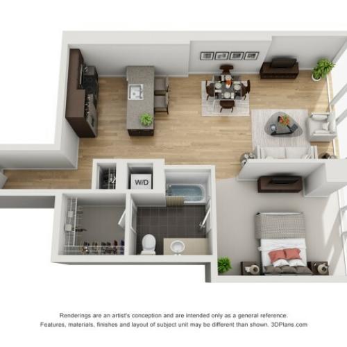 1 Bed 1 Bath Floor Plan 1t