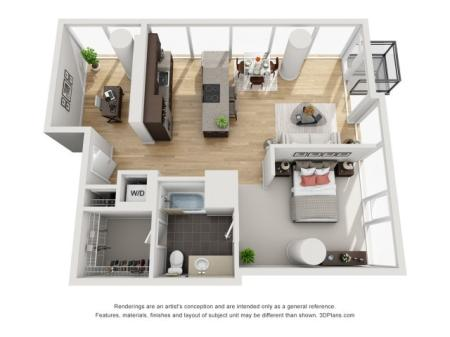 1 Bed 1 Bath Floor Plan 1ed