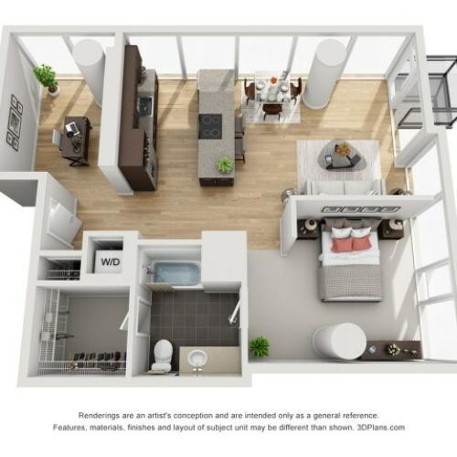 1 Bed 1 Bath Floor Plan 1ed