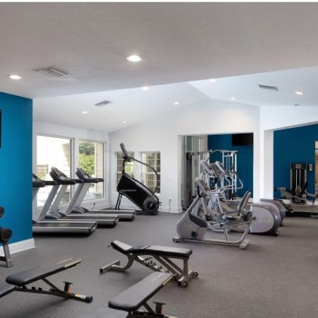 Fitness center with gym equipment
