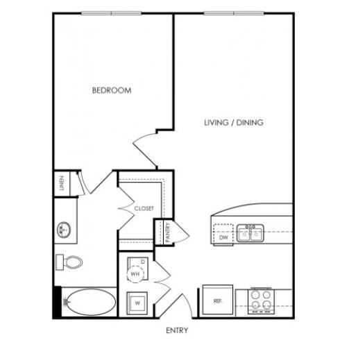 One bedroom, one bathroom. Kitchen, living room, patio with storage, walk in closet, laundry room. A0-4 floor plan, 674 square feet.