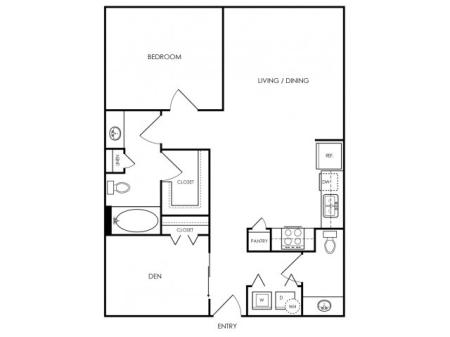 One bedroom one bath, kitchen, kitchen pantry, living room, dining room, laundry room, one, A2- 5 floor plan, 908 square feet.