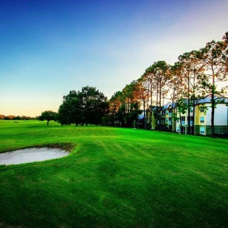 Alvista Metrowest Orlando Florida golf course with community buildings in the background
