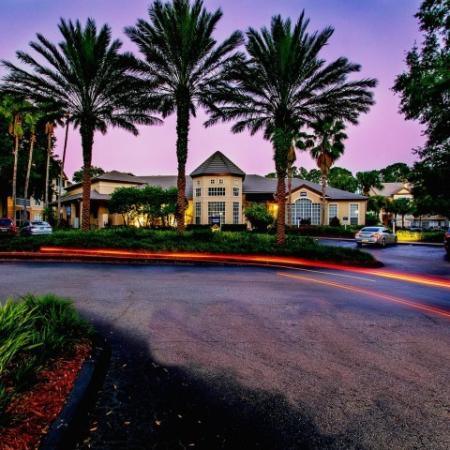 Alvista Metrowest Orlando Florida exterior of clubhouse and entry at sunset