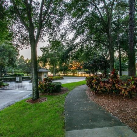 Alvista Metrowest Orlando Florida walking path to Lake Debra Drive and exit gate