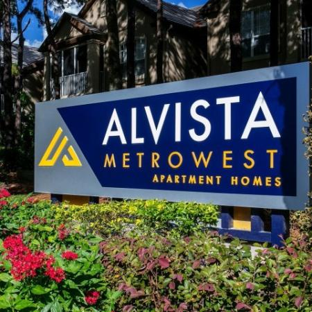 Alvista Metrowest Orlando Florida monument entry sign with flowers