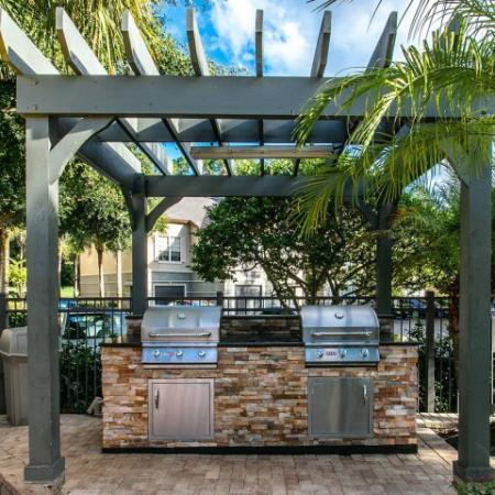 Alvista Metrowest Orlando Florida pool area grills under a pavilion