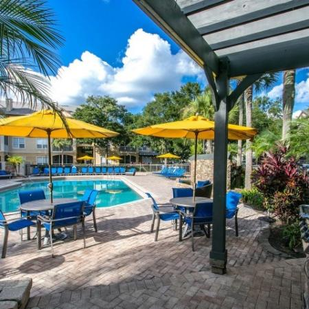 Alvista Metrowest Orlando Florida pool with table and chair sets with umbrellas, grills under a pavilion