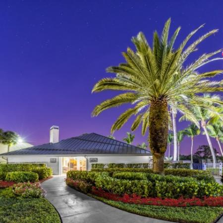 Alvista Golden Gate photo of clubhouse at night time with large palm tree
