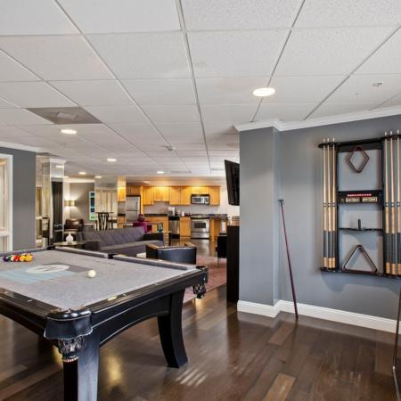 Resident Lounge with Kitchen, Entertainment Seating and Pool Table