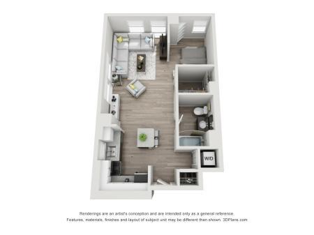 1 Bed 1 Bath Floor Plan Unit 7