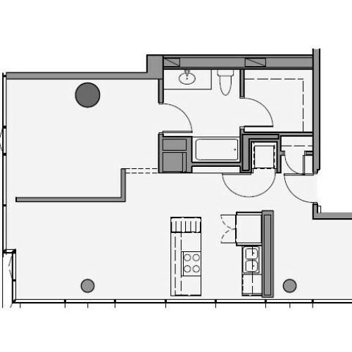 1 Bed 1 Bath + Den Floor Plan 1ad