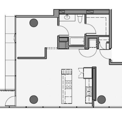 1 Bed 1 Bath + Den Floor Plan 1bd