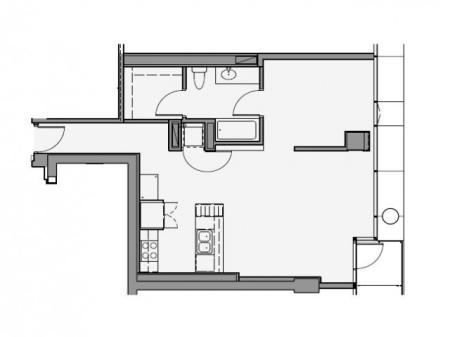 1 Bed 1 Bath Floor Plan 1c