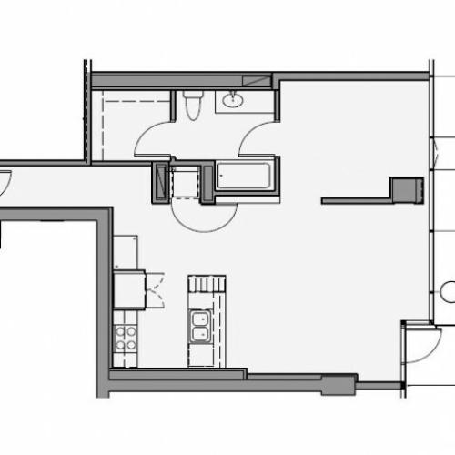 1 Bed 1 Bath Floor Plan 1c