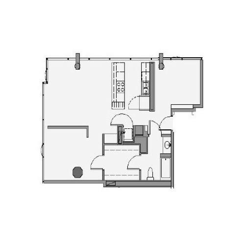 1 Bed 1 Bath + Den Floor Plan 1dd