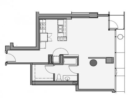 1 Bed 1 Bath Floor Plan 1f