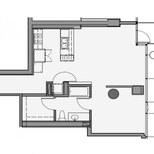 1 Bed 1 Bath Floor Plan 1g