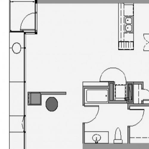 1 Bed 1 Bath Floor Plan 1l