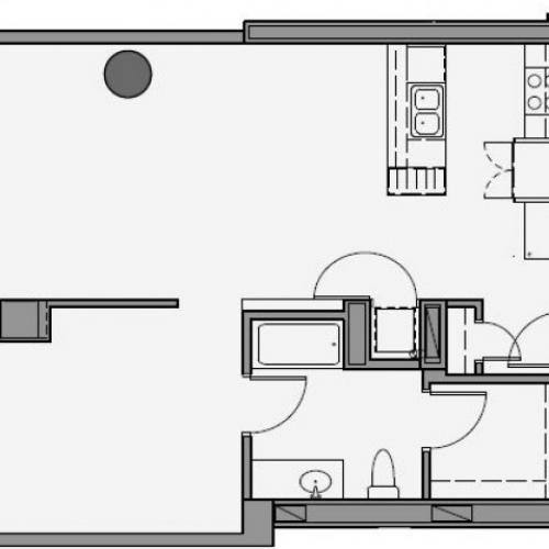 1 Bed 1 Bath Floor Plan 1m