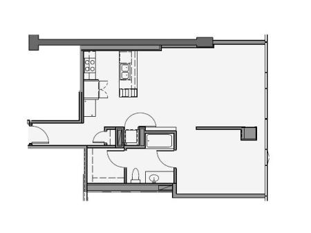 1 Bed 1 Bath Floor Plan 1p6
