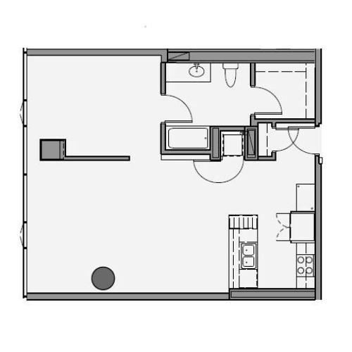 1 Bed 1 Bath Floor Plan 1r