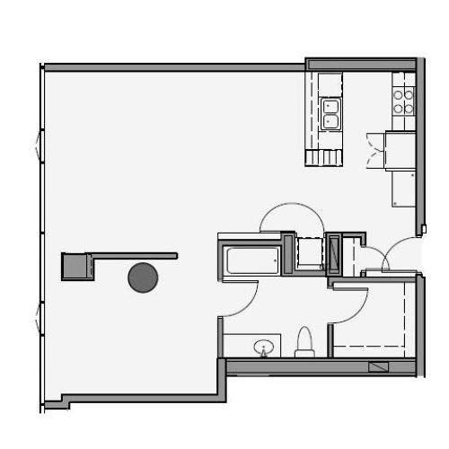 1 Bed 1 Bath Floor Plan 1s