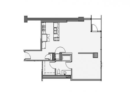 1 Bed 1 Bath + Den Floor Plan 1va