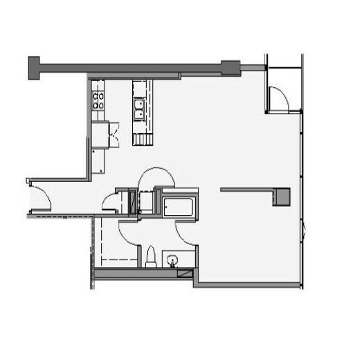 1 Bed 1 Bath + Den Floor Plan 1va