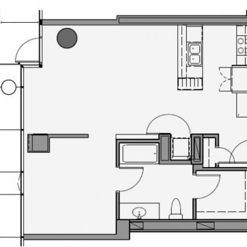 1 Bed 1 Bath Floor Plan 1b