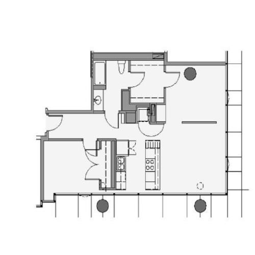 1 Bed 1 Bath Floor Plan 1cd