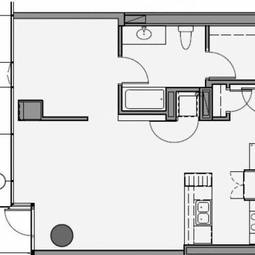 1 Bed 1 Bath Floor Plan 1d