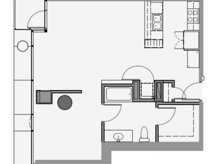1 Bed 1 Bath Floor Plan 1e