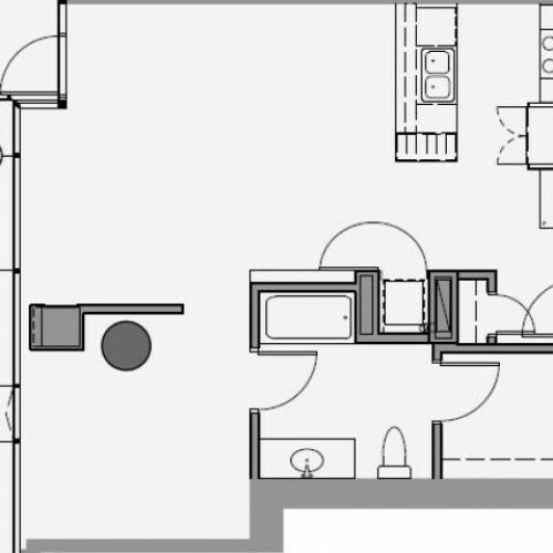 1 Bed 1 Bath Floor Plan 1e