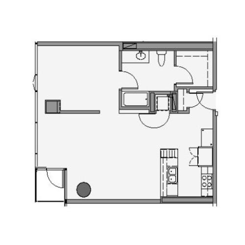 1 Bed 1 Bath Floor Plan 1k
