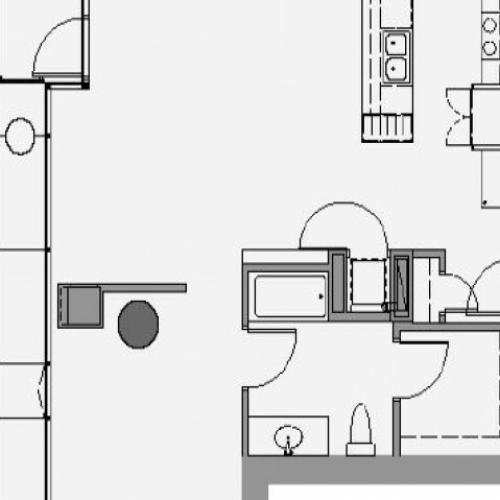 1 Bed 1 Bath Floor Plan 1la