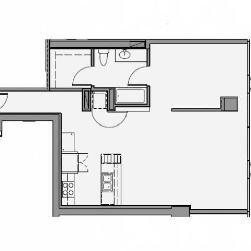 1 Bed 1 Bath Floor Plan 1n