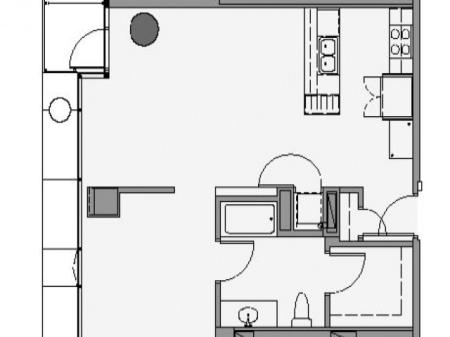1 Bed 1 Bath Floor Plan 1p1