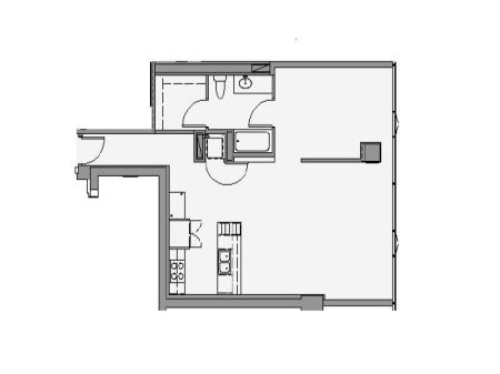 1 Bed 1 Bath Floor Plan 1p2