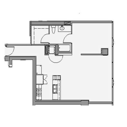 1 Bed 1 Bath Floor Plan 1p2