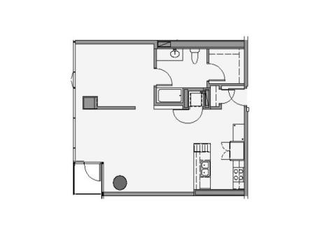 1 Bed 1 Bath Floor Plan 1p3