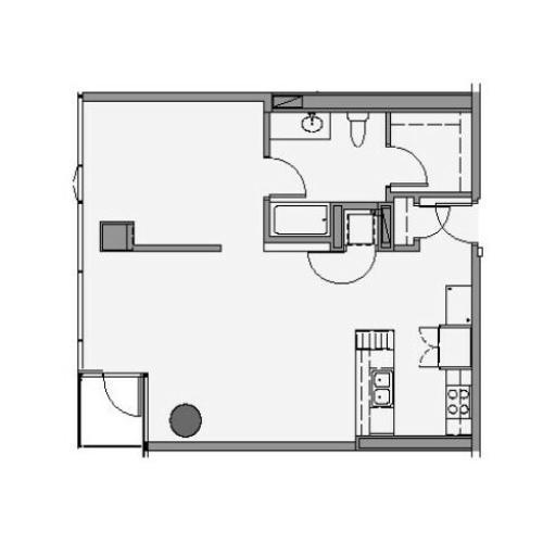 1 Bed 1 Bath Floor Plan 1p3