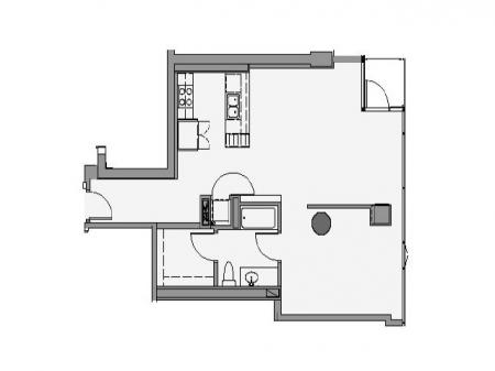 1 Bed 1 Bath Floor Plan 1p5