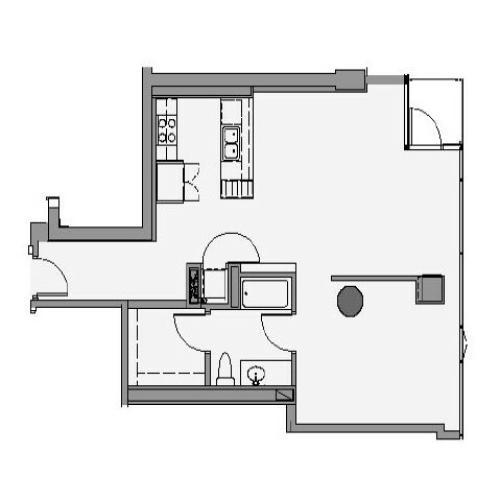 1 Bed 1 Bath Floor Plan 1p5