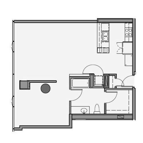 1 Bed 1 Bath Floor Plan 1p6