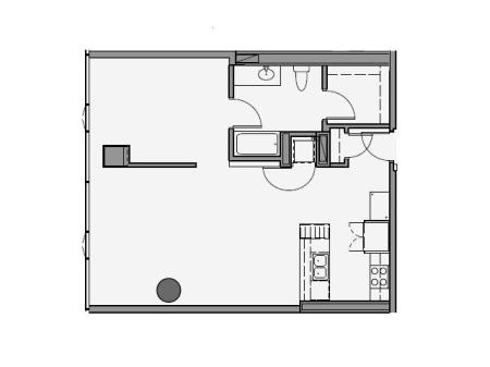 1 Bed 1 Bath Floor Plan 1r