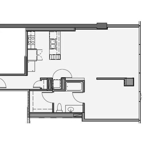 1 Bed 1 Bath Floor Plan 1u