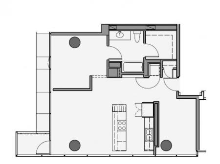 1 Bed 1 Bath Floor Plan 1va