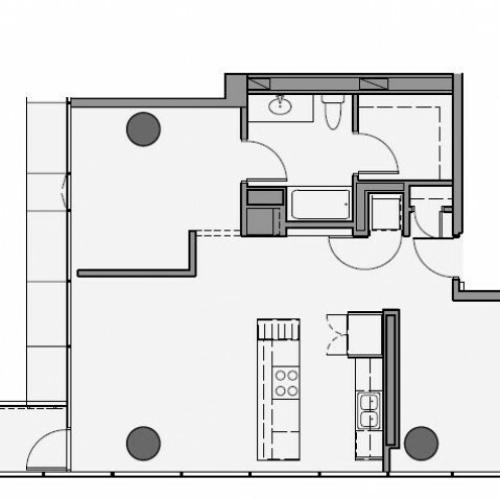 1 Bed 1 Bath Floor Plan 1va