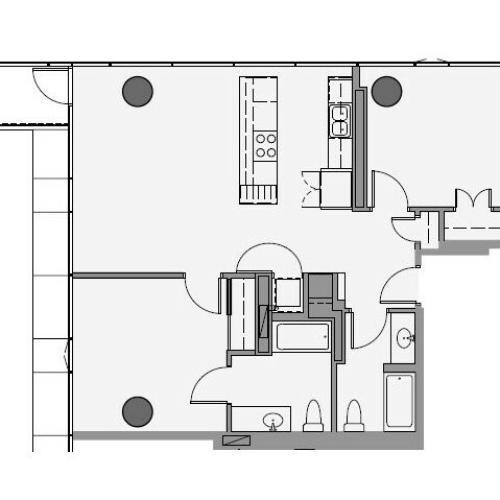 2 Bed 2 Bath Floor Plan 2a